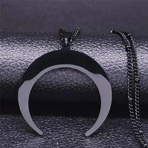Black Crescent Moon Necklace